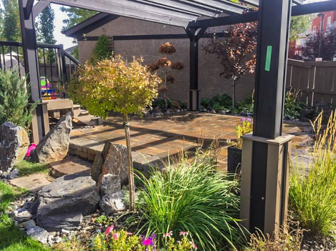 Edmonton Landscaping Stone Patio and Pergola